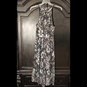 Michael Kors metallic floral midi dress. Size M.
